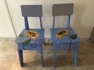 Toddler hand painted chairs
