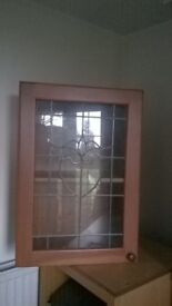 3 x glass fronted kitchen cabinets