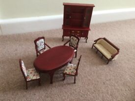 Dolls House 1/12scale Table, 4 chairs, Sofa and Display Cabinet