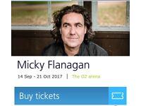 2 x Micky Flanagan tickets 14th September 2017 LONDON O2