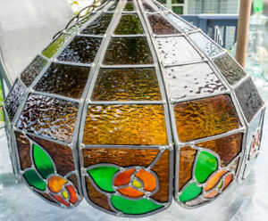 Stained Glass Hanging Lamp (large, well made, beautiful)