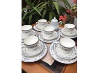 SALE Vintage Wedgewood Gardenia 6 Trio Tea Set & Noritake Sugar Pot