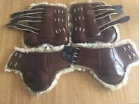 Gygax size 1 (pony) brown leather star boots (front) & ankle boots (rear)