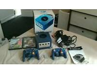 GameCube boxed with 2 controllers, memory card and 2 games