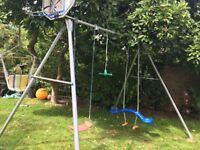 TP swing set, triple with twizzler, sky rider and swing.