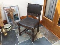 Antique oak and leather chair