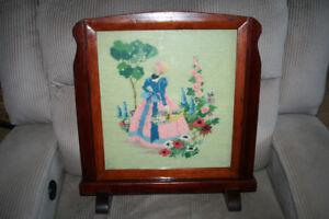 Vintage Wood Frame, Needlepoint