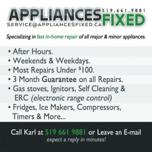 APPLIANCES FIXED - Stoves, Dryers, Washers, Dishwashers, etc....
