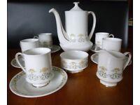 Paragon fine bone china 'FIONA' Coffee Pot, 5 Cups & Saucers, Sugar Bowl & Cream/Milk Jug