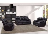 Sandy 3&2 Luxury Bonded Leather Recliner Sofa Set With Pull Down Drink Holder