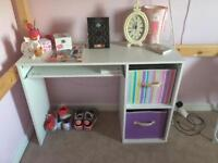 White desk with pull out shelf
