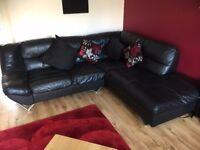 Black leather Corner sofa, good condition, bought from DFS 4 years ago, selling due to moving house.