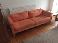 Lovely orange and white ikea sofa for sale, good condition, collect only in llanishen £75