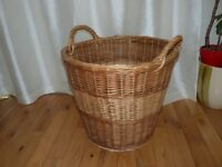 WICKER BASKET.LARGE.IDEAL FOR LINEN OR TOYS ETC.ONLY £10