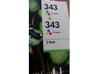 GENUINE New HP 343 Colour ink cartridges - twin pack + single