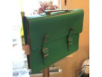 Green Brit-Stitch genuine leather satchel (BRAND NEW, originally £163.00)
