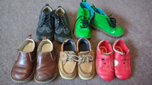 Toddler size 8 LEATHER shoes and Green boots