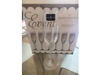 6x Crystal champagne glasses, boxed and never used. Perfect condition.
