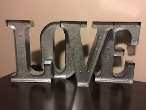 Galvanized Lighted LOVE Sign