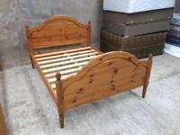Polished Pine Double Bed Frame