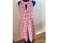 ladies cerise pink and cream sleeveless cotton dress