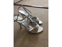 Next size 4 strappy sandals in silver
