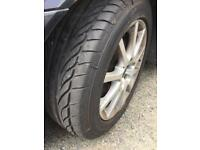 "Saab 16"" alloys x4 with almost new tyres 205/55/16"