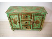 Beautiful vintage solid teak wood hand tapped brass bedside table unit