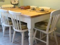 Pine farmhouse dining table (6) chairs