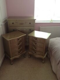 Dunelm gold coloured drawers and bedside cabinets