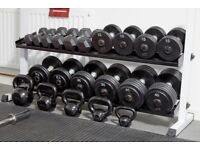"Body Solid 62"" Wide 2 Tier Dumbbell Rack and Dumbbells - priced separately"