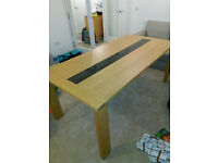 Dining Table, Side Board, 6 Leather Chairs