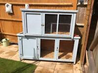 Two separate rabbit hutches