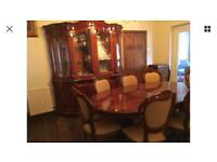 French polished display cabinet with table and 8 chairs
