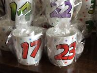 New job lot of 'age' mugs with tags all wrapped
