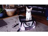 Pink pet bike carrier in good condition