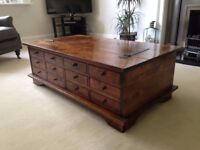 Coffee Table - Laura Ashley Garrat Chestnut 12 draw storage, Very good condition cost £470.00