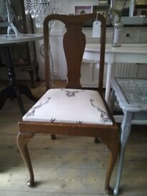 Vintage Reupholstered chair with Stag.