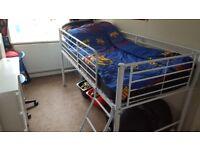 White framed Midsleeper Childs Bed