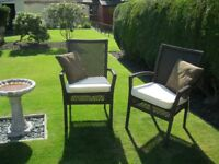 GARDEN/PATIO CHAIRS x 2 Rattan style armchairs