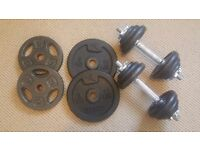 York Fitness 20kg Cast Iron Dumbell Set + 2 5kg Domyos weights + 2 5kg OneBody weights