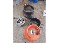 Bitumen boiler burner bucket and full gas bottle