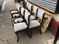 Reupholstered dining chairs