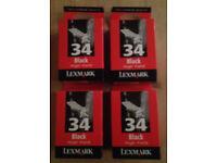 Genuine Lexmark 34 High Yield Black Cartridges (x4)