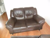 TWO SEATER SOFA (BROWN LEATHER)