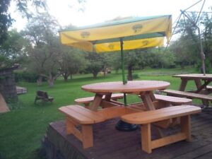 NEW ROUND PICNIC TABLE, STAINED!