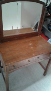 Antique Oak Vanity / Mirror / Stool