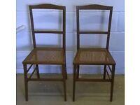 Pair Of Elegant Antique Dark With Inlaid Border and Cane Seats