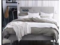 BARGAIN - MODERN CONTEMPORARY DARK GREY/TAUPE UPHOLSTERED KING BED FRAME POSS IKEA METAL CHROME LEGS