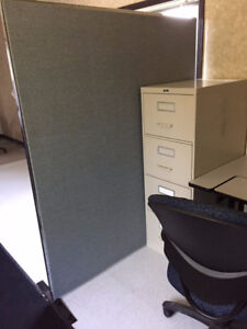 Office dividers, filing cabinets, computer cabinet, chairs